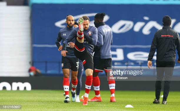 Danny Ings of Southampton warms up ahead of the Premier League match between West Bromwich Albion and Southampton at The Hawthorns on April 12, 2021...