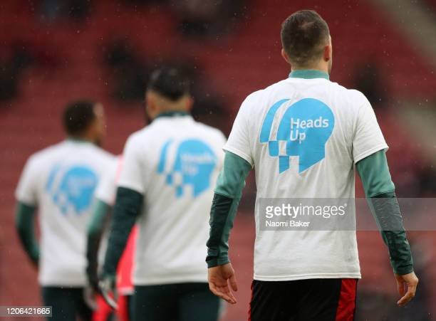 Danny Ings of Southampton warms up while wearing a Heads Up Campaign tshirt prior to the Premier League match between Southampton FC and Burnley FC...