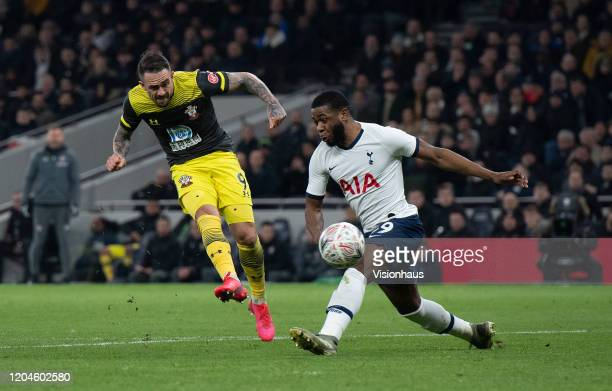 Danny Ings scores Southampton's second goal during the FA Cup Fourth Round Replay match between Tottenham Hotspur and Southampton FC at Tottenham...