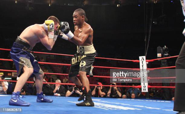 Danny Jacobs defeats Jimmy Campbell by TKO in the 3rd round in their Light Heavyweight boxing match at Madison Square Garden on November 8, 2008 in...