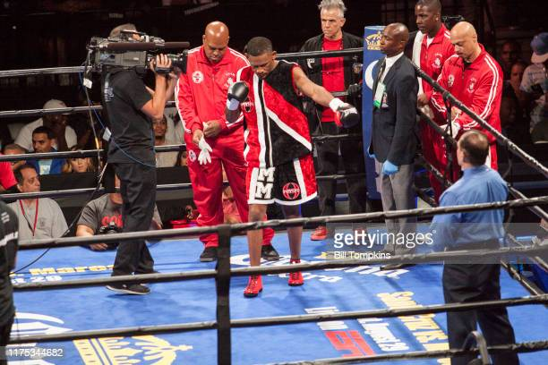 Danny Jacobs defeats Sergio Mora by TKO in the 2nd round during their Middleweight fight. Barclays Center on August 1st, 2015 in Brooklyn.