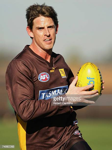 Danny Jacobs of the Hawks in action during the Hawthorn Hawks AFL training session at Waverley Park June 14 2007 in Melbourne Australia