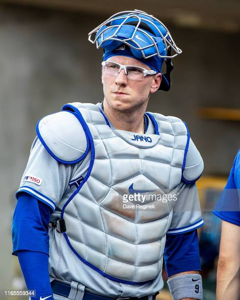Danny Jansen of the Toronto Blue Jays around in the dugout before the start of a MLB game against the Detroit Tigers at Comerica Park on July 20 2019...