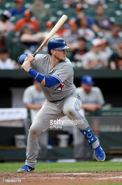 Danny Jansen of the Toronto Blue Jays bats against the Baltimore Orioles at Oriole Park at Camden Yards on August 4 2019 in Baltimore Maryland