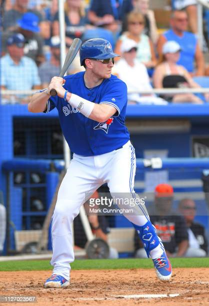 Danny Jansen of the Toronto Blue Jays bats during the Spring Training game against the Detroit Tigers at Dunedin Stadium on February 23 2019 in...