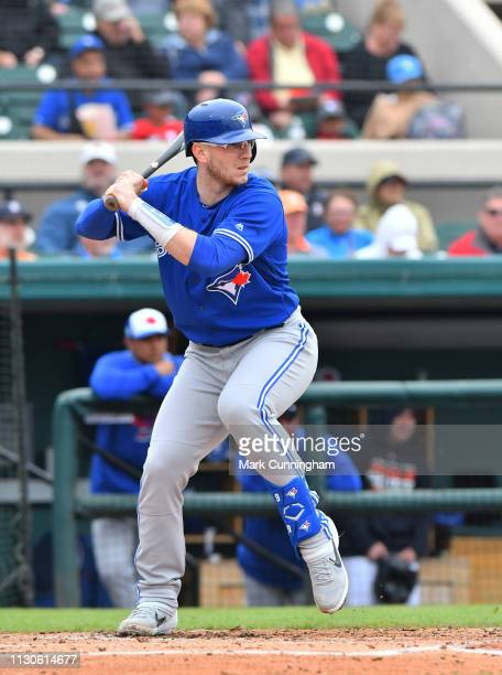 Danny Jansen of the Toronto Blue Jays bats during the Spring Training game against the Detroit Tigers at Publix Field at Joker Marchant Stadium on...
