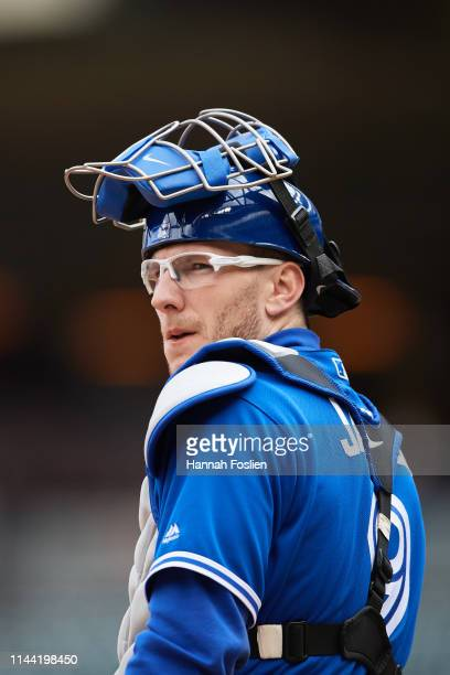 Danny Jansen of the Toronto Blue Jays looks on while catching during the game against the Minnesota Twins on April 18 2019 at Target Field in...