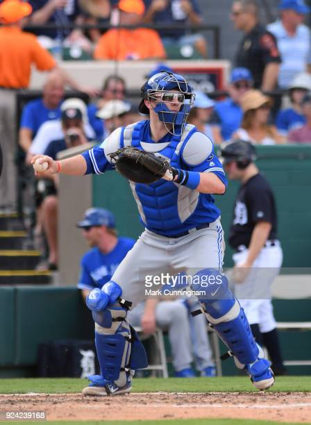 Danny Jansen of the Toronto Blue Jays throws a baseball during the Spring Training game against the Detroit Tigers at Publix Field at Joker Marchant...