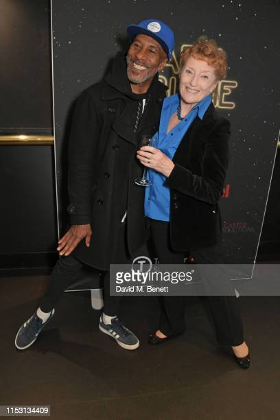 "Danny John-Jules and Judith Paris attend the press night performance of ""Dark Sublime"" at Trafalgar Studios on July 1, 2019 in London, England."