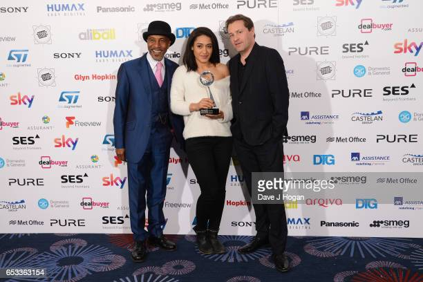 Danny John-Jules, Josephine Jobert and guest with the award for Crime Programme of the Year pose in the winners room at the TRIC Awards 2017 at The...