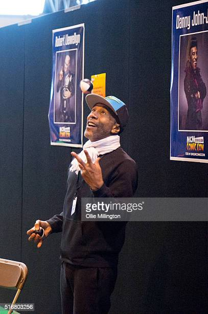 Danny John-Jules juggling while meeting fans to talk about the new series of Red Dwarf on the 2nd day of Comic Con 2016 on March 20, 2016 in...