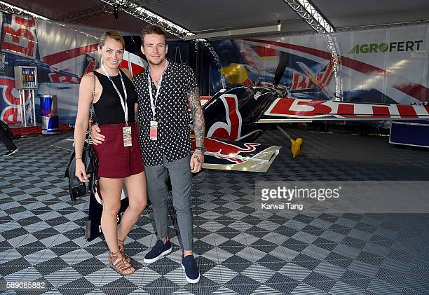 Danny Jones and Georgia Horsley attend the Red Bull Air Race World Championships at Ascot Racecourse on August 13 2016 in Ascot England