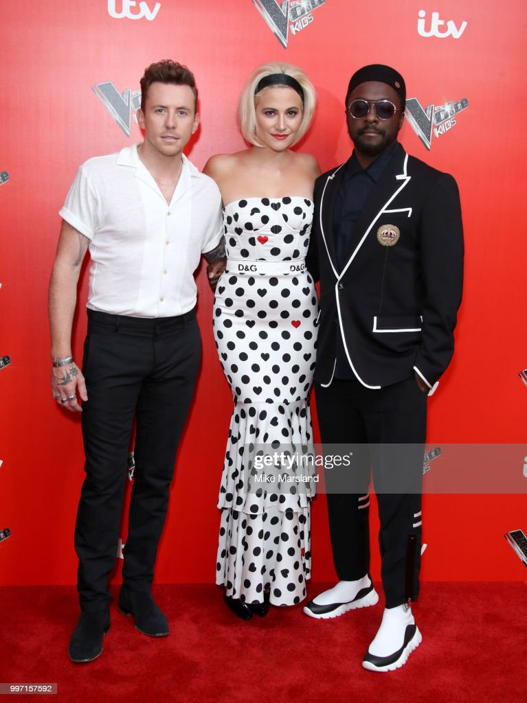 Danny Jones, Pixie Lott, Will.i.am attend a photocall to launch season 2 of 'The Voice: Kids' at Madame Tussauds on July 12, 2018 in London, England.