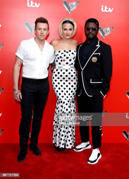 Danny Jones Pixie Lott William attend a photocall to launch season 2 of 'The Voice Kids' at Madame Tussauds on July 12 2018 in London England