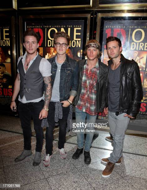 Danny Jones Tom Fletcher Dougie Poynter and Harry Judd of McFly attend the World Premiere of 'One Direction This Is Us 3D' at Empire Leicester Square...