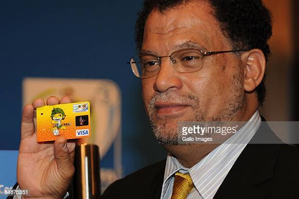 Danny Jordaan, CEO of the 2010 Fifa world cup LOC of South Africa, poses with a VISA card featuring branding during the 2010 FIFA World Cup seminar...