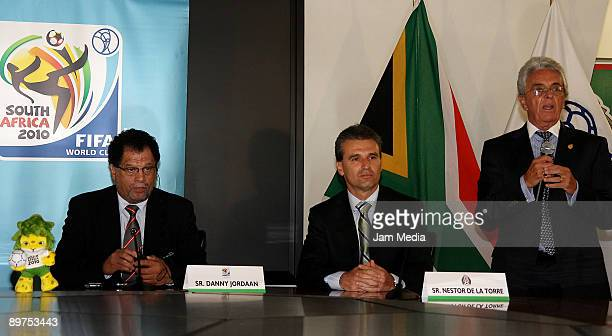 Danny Jordaan of the Local Organising Committee chief executive for the 2010 World Cup, Nestor de la Torre and Justino Compean during a press...