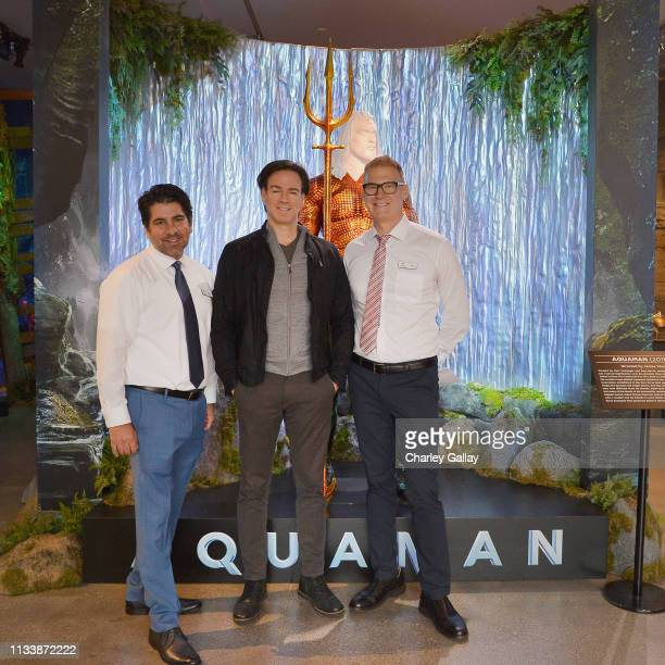 Danny Kahn Aquaman producer Peter Safran and Gary Soloff attend the Warner Bros Studio Tour Hollywood Aquaman Exhibit reveal on March 05 2019 in Los...