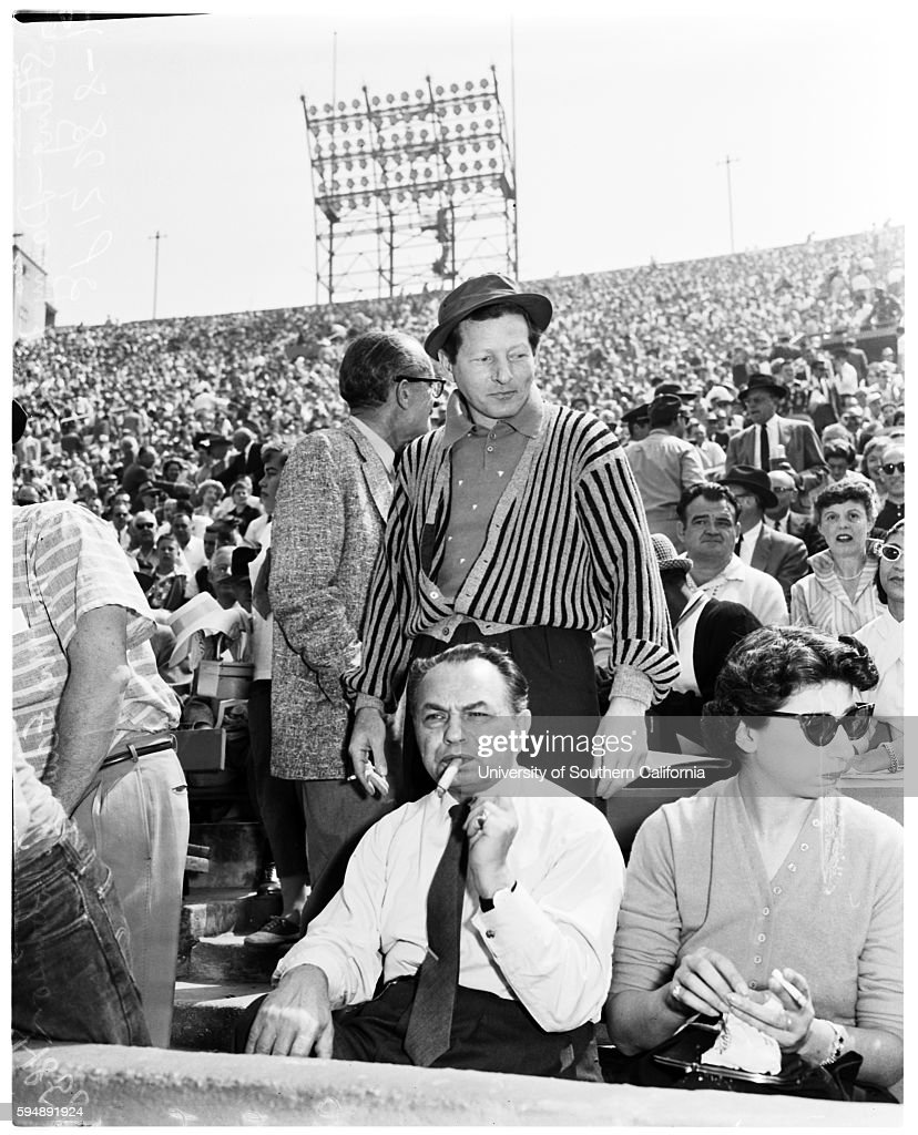 danny kaye and and edward g robinson in the crowd on opening day of