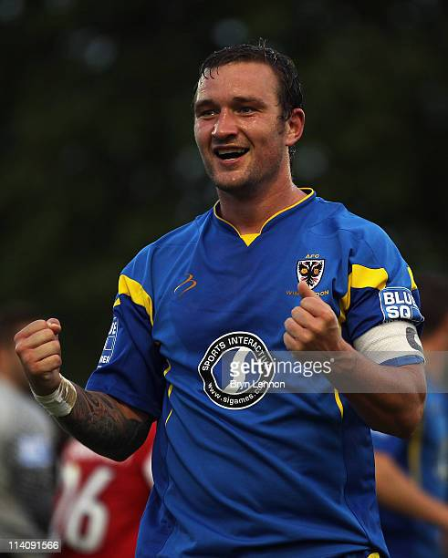 Danny Kedwell of AFC Wimbledon celebrates scoring during the Blue Square Bet Premier League play off semi final second leg between AFC Wimbledon and...