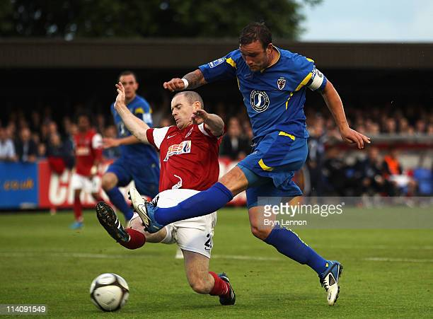 Danny Kedwell of AFC Wimbledon scores their second goal during the Blue Square Bet Premier League play off semi final second leg between AFC...