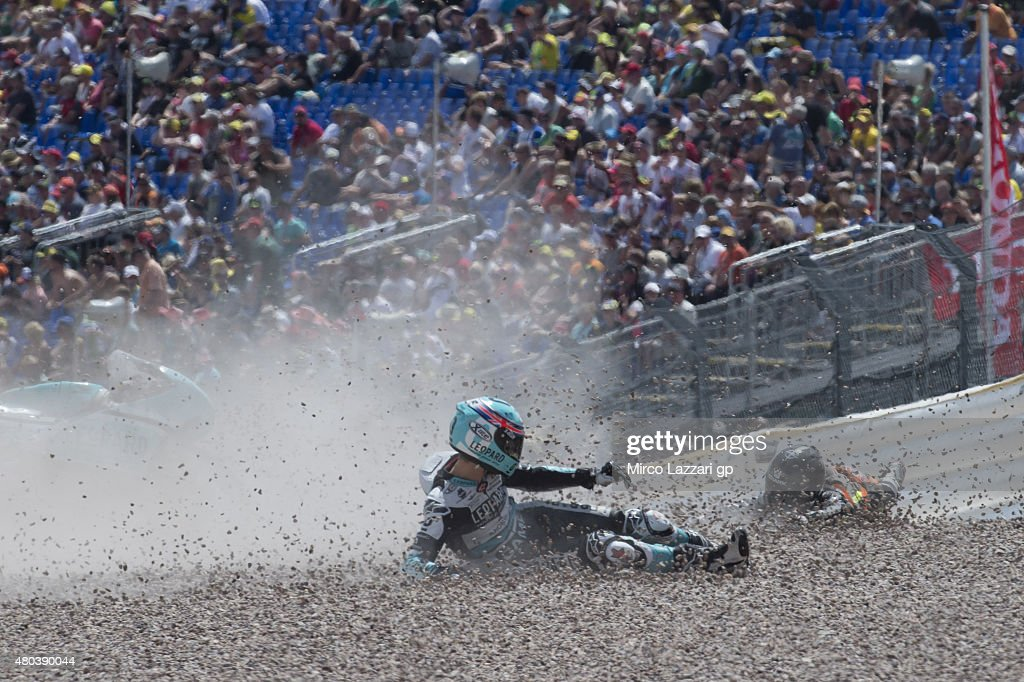 Danny Kent of Britain and Leopard Racing crashed out during the MotoGp of Germany - Qualifying at Sachsenring Circuit on July 11, 2015 in Hohenstein-Ernstthal, Germany.