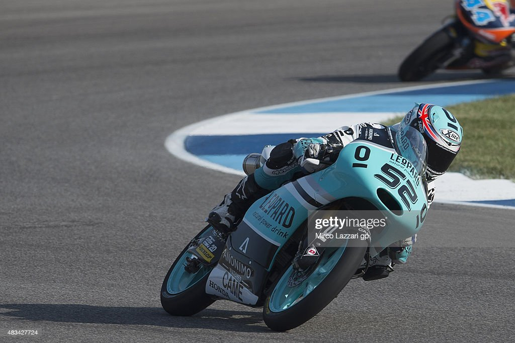 Danny Kent of Britain and Leopard Racing rounds the bend during the MotoGp Red Bull U.S. Indianapolis Grand Prix - Qualifying at Indianapolis Motor Speedway on August 8, 2015 in Indianapolis, Indiana.