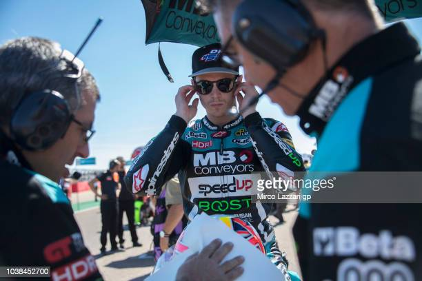 Danny Kent of Great Britain and Beta Tools Speed Up Racing prepares to start on the grid during the Moto2 race during the MotoGP of Aragon Race at...