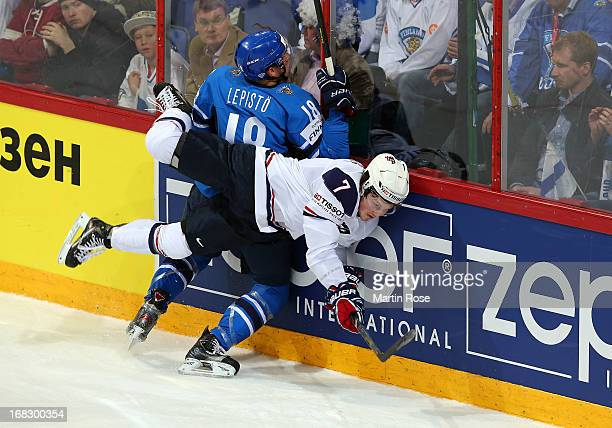Danny Kristo of USA and Sami Lepisto of Finland battle for the puck during the IIHF World Championship group H match between USA and Finland at...