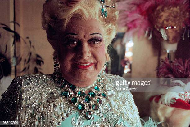 Danny la Rue aged seventy three in his changing room at the New Victoria Theatre in Woking 15th December 2000