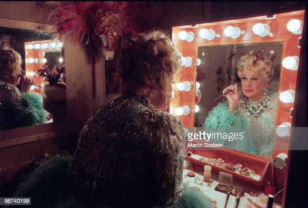 Danny la Rue in his changing room at the New Victoria Theatre in Woking 15th December 2000 Fifteenth December Two Thousand