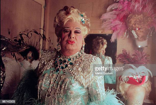 Danny la Rue in his changing room blowing a kiss at the New Victoria Theatre in Woking 15th December 2000