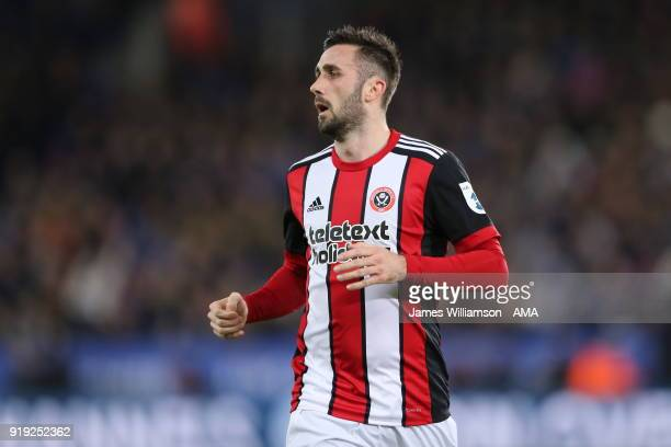 Danny Lafferty of Sheffield United during the Emirates FA Cup Fifth Round match between Leicester City and Sheffield United at The King Power Stadium...
