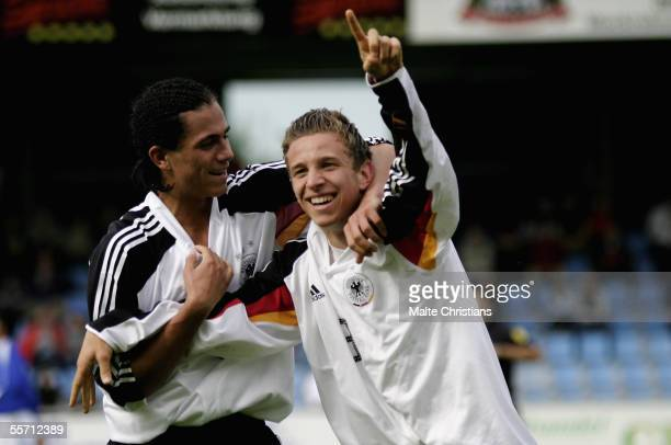 Danny Latza and David Vrzogic of Germany celebrate after the first goal during the men's under 17 Four Nations Tournament match between Germany and...