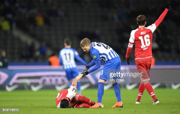 Danny Latza of FSV Mainz 05 and Mitchell Weiser of Hertha BSC during the first Bundesliga game between Hertha BSC and 1st FSV Mainz 05 at...
