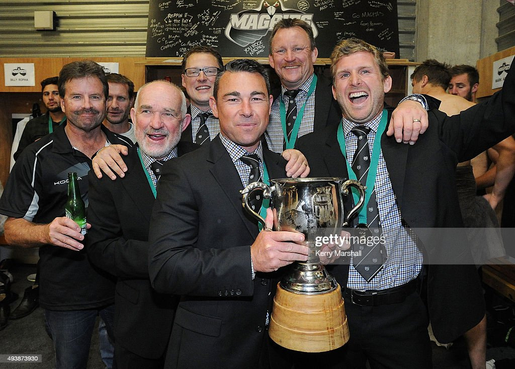 Danny Lee and Hawkes Bay managment and coaching staff following the ITM Cup Championship Final between Hawke's Bay and Wellington at McLean Park on October 23, 2015 in Napier, New Zealand.