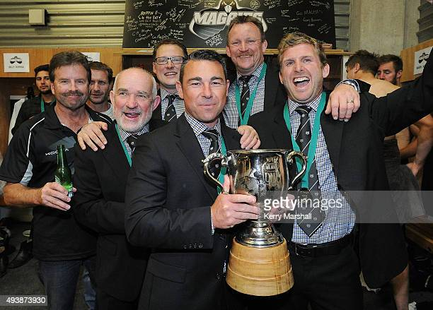 Danny Lee and Hawkes Bay managment and coaching staff following the ITM Cup Championship Final between Hawke's Bay and Wellington at McLean Park on...