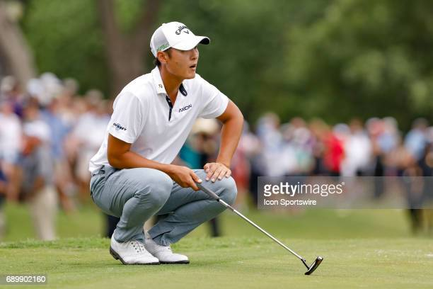 Danny Lee lines up his putt on during the final round of the PGA Dean Deluca Invitational on May 28 2017 at Colonial Country Club in Fort Worth TX