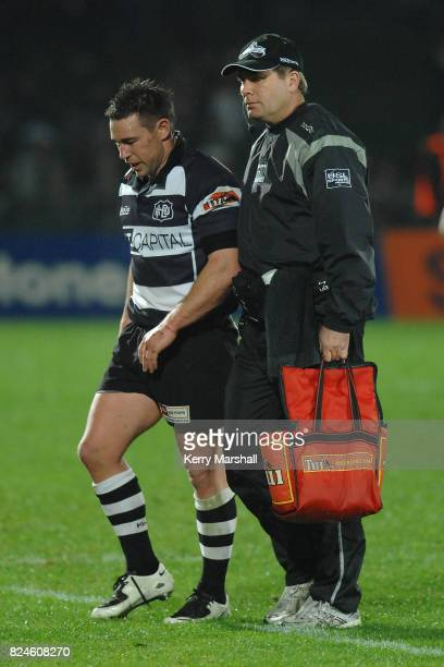 Danny Lee of Hawkes Bay leaves the field injured in the Air New Zealand Cup match between the Hawkes Bay and Taranaki at McLean Park on September 04...