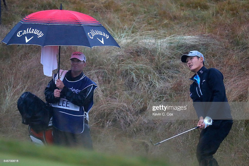 Danny Lee of New Zealand chips to the 18th green during the third round of the AAM Scottish Open at Castle Stuart Golf Links on July 9, 2016 in Inverness, Scotland.