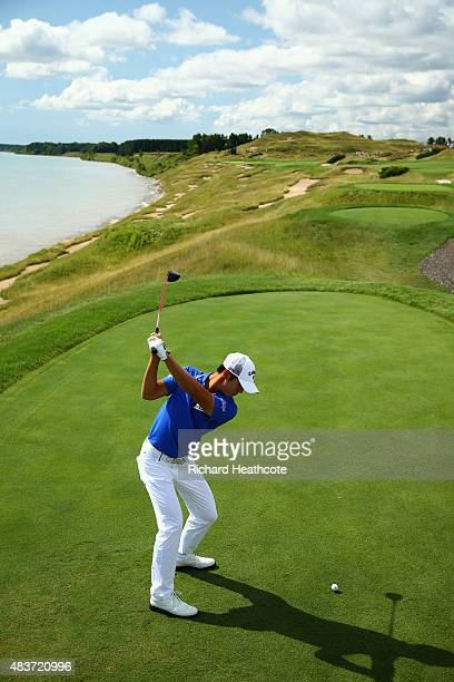 Danny Lee of New Zealand hits a tee shot during a practice round prior to the 2015 PGA Championship at Whistling Straits on August 12 2015 in...