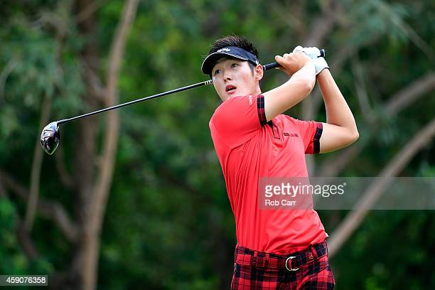 Danny Lee of New Zealand hits a tee shot on the 7th hole during the final round of the OHL Classic at the Mayakoba El Camaleon Golf Club on November...