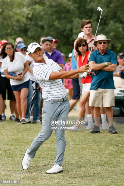 Danny Lee of New Zealand hits from the trees on during the second round of the ATT Byron Nelson on May 19 2017 at the TPC Four Seasons Resort in...