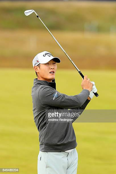 Danny Lee of New Zealand hits his 2nd shot on the 15th hole during the second round of the AAM Scottish Open at Castle Stuart Golf Links on July 8...