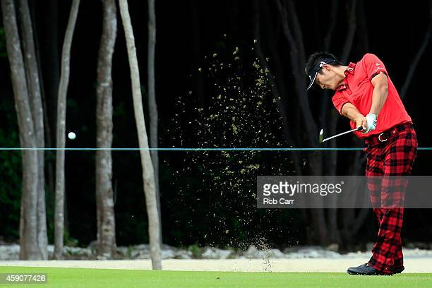 Danny Lee of New Zealand hits his second shot on the 9h hole during the final round of the OHL Classic at the Mayakoba El Camaleon Golf Club on...