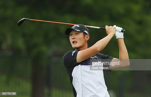 Danny Lee of New Zealand hits his second shot on the second hole during Round One of the ATT Byron Nelson on May 19 2016 in Irving Texas
