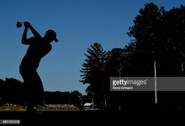 Danny Lee of New Zealand hits his tee shot on the 18th hole during round three of the Deutsche Bank Championship at TPC Boston on September 6 2015 in...
