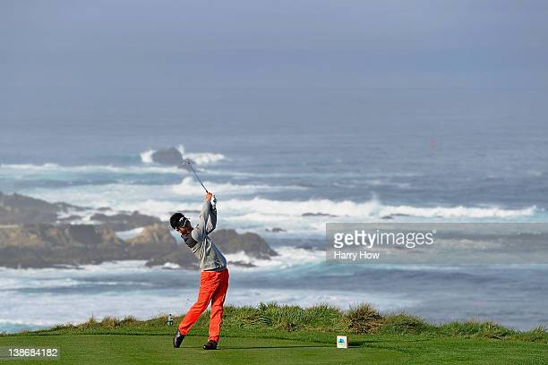 Danny Lee of New Zealand hits his tee shot on the fourth hole during the second round of the AT&T Pebble Beach National Pro-Am at the Spyglass Hill...