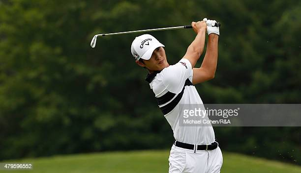 Danny Lee of New Zealand hits his tee shot on the third hole during the final round of the Greenbrier Classic held at The Old White TPC on July 5...