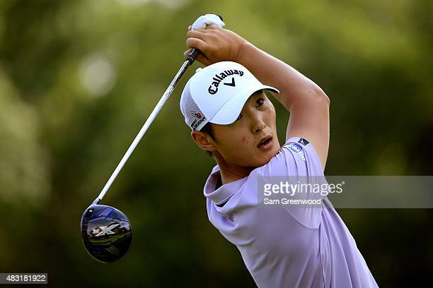 Danny Lee of New Zealand hits off the third tee during the first round of the World Golf Championships Bridgestone Invitational at Firestone Country...